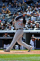 Apr 03, 2011; Bronx, NY, USA; Detroit Tigers outfielder Miguel Cabrera (24) during game against the New York Yankees at Yankee Stadium. Tigers defeated the Yankees 10-7. Mandatory Credit: Tomasso De Rosa