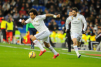 Real Madrid´s Marcelo Vieira and Isco during 2014-15 La Liga match between Real Madrid and Sevilla at Santiago Bernabeu stadium in Alcorcon, Madrid, Spain. February 04, 2015. (ALTERPHOTOS/Luis Fernandez) /NORTEphoto.com