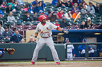 Xavier Scruggs (16) of the Memphis Redbirds at bat against the Omaha Storm Chasers in Pacific Coast League action at Werner Park on April 24, 2015 in Papillion, Nebraska.  (Stephen Smith/Four Seam Images)