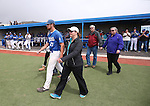 Wildcats' Connor Zwetsch takes the field with his family during Sophomore Day ceremonies at Western Nevada College in Carson City, Nev., on Saturday, April 25, 2015. <br /> Photo by Cathleen Allison