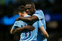 Phil Foden of Manchester City celebrates with Benjamin Mendy of Manchester City after scoring his side's second goal to make the score 2-0 during the UEFA Champions League Group C match between Manchester City and Dinamo Zagreb at the Etihad Stadium on October 1st 2019 in Manchester, England. (Photo by Daniel Chesterton/phcimages.com)<br /> Foto PHC/Insidefoto <br /> ITALY ONLY