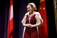 First prize winner Melanie Laurent from France receives her first-prize medal during the awards ceremony of the 11th USA International Harp Competition at Indiana University in Bloomington, Indiana on Saturday, July 13, 2019. (Photo by James Brosher)