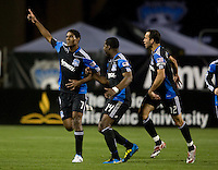 Khari Stephenson of Earthquakes celebrates after scoring a goal during the game against Sounders at Buck Shaw Stadium in Santa Clara, California on April 2nd, 2011.   San Jose Earthquakes and Seattle Sounders are tied 2-2.