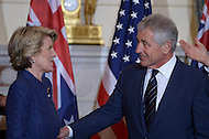 November 20, 2013  (Washington, DC) U.S Secretary of Defense Chuck Hagel chats with Australian Foreign Minister Julie Bishop in the Ben Franklin Room at the State Department.   (Photo by Don Baxter/Media Images International)