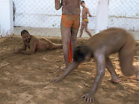 Mud wrestling ring at 'Sia Ram bhajan samati akhaara', a traditional wrestling training centre, on the banks of the Hugli/Hooghly River an arm of the Ganges in Kolkata