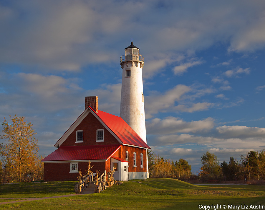 Tawas Point State Park, MI:  Tawas Point Light (1853) on Tawas Point, Lake Huron - Iosco County