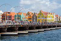Willemstad, Curacao, Lesser Antilles.  Pedestrians Crossing Queen Emma Pontoon Bridge, Heading toward Punda.