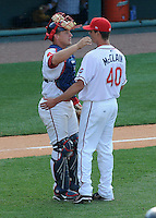 May 31, 2009: LHP Lance McClain and catcher Tim Federowicz of the Greenville Drive, congratulate each other after winning a game against the Charleston RiverDogs at Fluor Field at the West End in Greenville, S.C. Photo by: Tom Priddy/Four Seam Images