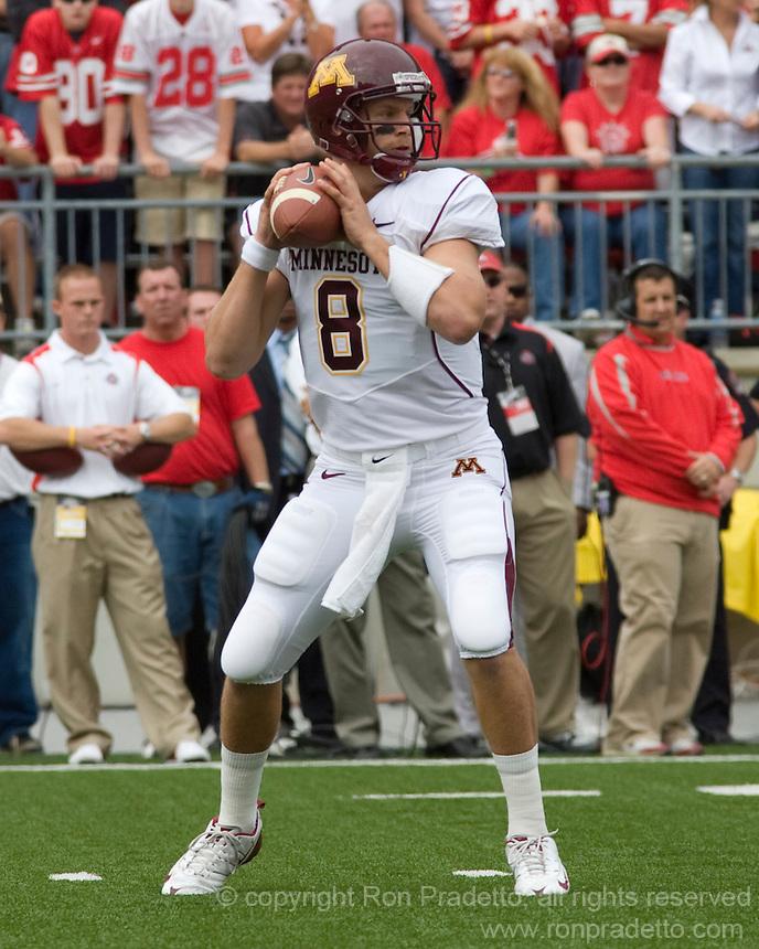 September 27, 2008: Minnesota quarterback Adam Weber (8). The Ohio State Buckeyes defeated the Minnesota Gophers 34-21 on September 27, 2008 at Ohio Stadium, Columbus, Ohio.