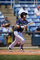 Binghamton Rumble Ponies second baseman Jeff McNeil (1) follows through on a swing during a game against the Altoona Curve on June 14, 2018 at NYSEG Stadium in Binghamton, New York.  Altoona defeated Binghamton 9-2.  (Mike Janes/Four Seam Images)