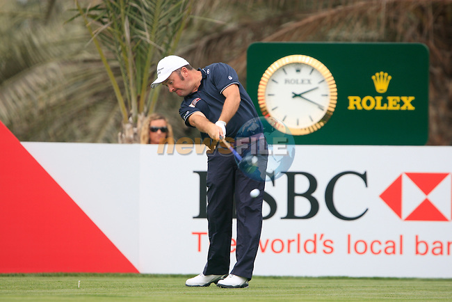 Damien McGrane tees off on the 14th tee during Thusday Day 1 of the Abu Dhabi HSBC Golf Championship, 20th January 2011..(Picture Eoin Clarke/www.golffile.ie)