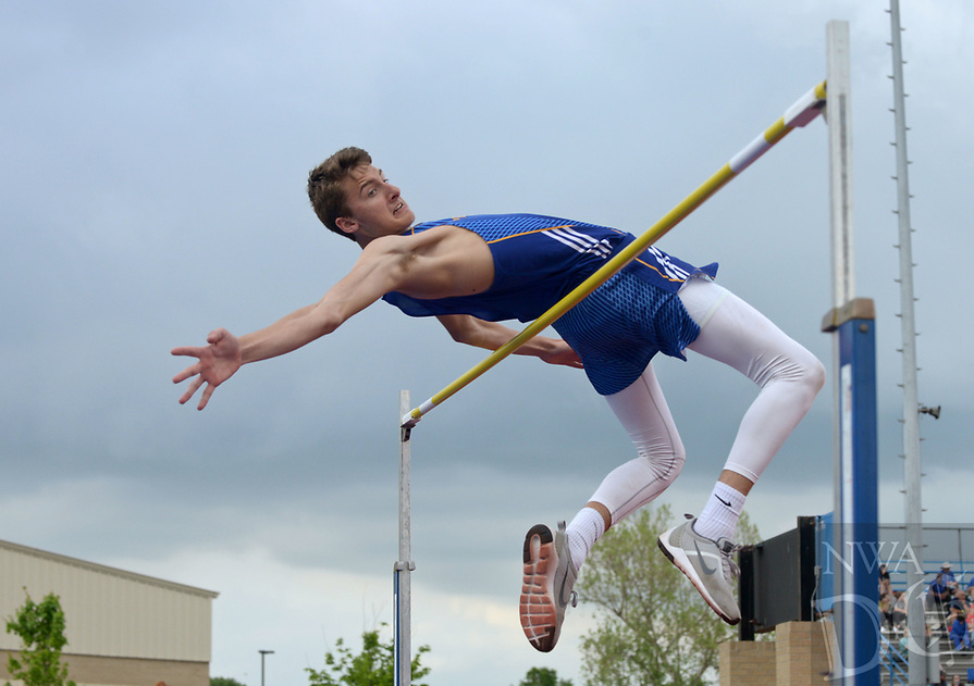 NWA Democrat-Gazette/BEN GOFF @NWABENGOFF<br /> Jace Wilhite of Pryor (Okla.) clears the bar at 6 feet, 2 inches in the boys high jump Thursday, April 20, 2017, during the McDonald Relays at Fort Smith Southside. Wilhite won the event with a jump of 6 feet, 3 inches.