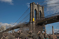 "Elephants perform during ""Jumbo's coming to DUMBO"" where Asian Elephants dance in a party at brooklyn bridge to commemorate its inaugural show in Brooklyn. Photo by Eduardo Munoz Alvarez / VIEWpress."