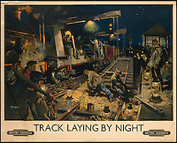 BNPS.co.uk (01202 558833)<br /> Pic: SwannGalleries/BNPS<br /> <br /> ***Please Use Full Byline***<br /> <br /> Track laying by night - 1955 - &pound;1500.<br /> <br /> Beautiful posters from the halcyon days of travel up for auction.<br /> <br /> Scarce vintage travel posters promoting holidays across the globe in the 1920's and 30's are tipped to sell for over &pound;200,000 .<br /> <br /> The fine collection of 200 works of art that hark back to the halcyon days of train and boat travel have been brought together for sale.<br /> <br /> The posters were used to advertise dream holiday destinations in far-flung places such as the US and Australia and to celebrate the luxurious ways of getting to them.<br /> <br /> Most of the advertising posters date back to the 1930s and are Art Deco in style and they are all from the original print-run.