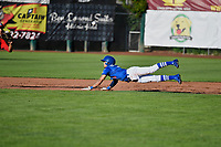 Brayan Morales (8) of the Ogden Raptors dives to second base against the Orem Owlz in Pioneer League action at Lindquist Field on June 22, 2017 in Ogden, Utah. The Owlz defeated the Raptors 13-8.  (Stephen Smith/Four Seam Images)