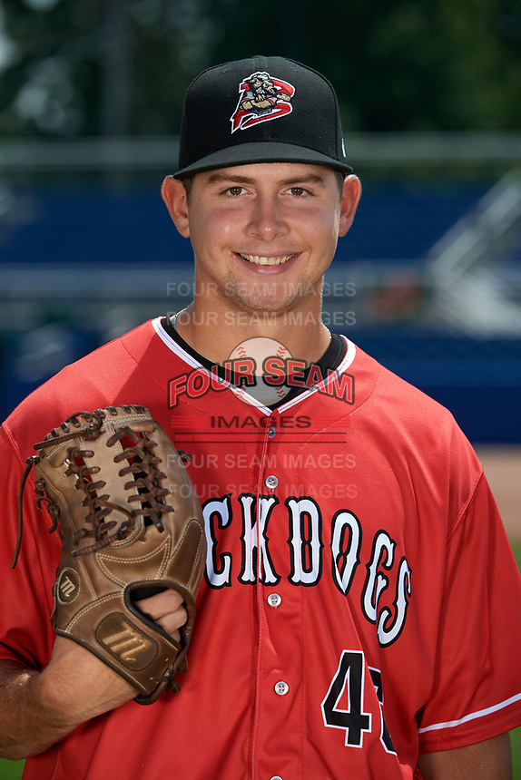 Batavia Muckdogs pitcher Dylan Cyphert (46) poses for a photo on July 2, 2018 at Dwyer Stadium in Batavia, New York.  (Mike Janes/Four Seam Images)