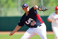 Scott Patterson #49 of the United States World Cup/Pan Am Team in action against Team Canada at the USA Baseball National Training Center on September 29, 2011 in Cary, North Carolina.  (Brian Westerholt / Four Seam Images)