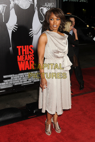 """Angela Bassett.""""This Means War"""" Los Angeles Premiere held at Grauman's Chinese Theatre, Hollywood, California, USA..February 8th, 2012.full length dress shoes silver grey gray sleeveless .CAP/ADM/BP.©Byron Purvis/AdMedia/Capital Pictures."""