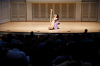 Hanjiao Zou performs during the Stars of Tomorrow Concert at the 11th USA International Harp Competition at Indiana University in Bloomington, Indiana on Thursday, July 11, 2019. (Photo by James Brosher)