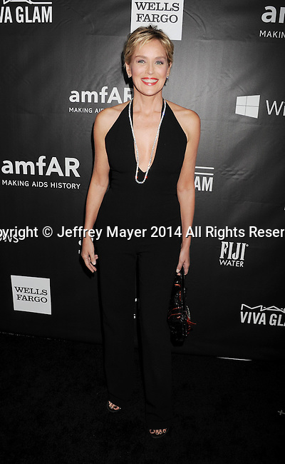 HOLLYWOOD, CA- OCTOBER 29: Actress Sharon Stone attends amfAR LA Inspiration Gala honoring Tom Ford at Milk Studios on October 29, 2014 in Hollywood, California.