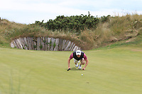 Dylan Brophy (Castleknock) on the 7th green during the 1/4 Finals of the AIG Irish Close Championship at the European Club, Brittas Bay, Wicklow, Ireland on Monday 6th August 2018.<br /> Picture: Thos Caffrey / Golffile<br /> <br /> All photo usage must carry mandatory copyright credit (&copy; Golffile | Thos Caffrey)