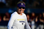 OKLAHOMA CITY, OK - JUNE 04: Head Coach Heather Tarr of the Washington Huskies smiles after a big out against the Florida State Seminoles during the Division I Women's Softball Championship held at USA Softball Hall of Fame Stadium - OGE Energy Field on June 4, 2018 in Oklahoma City, Oklahoma. (Photo by Tim Nwachukwu/NCAA Photos via Getty Images)