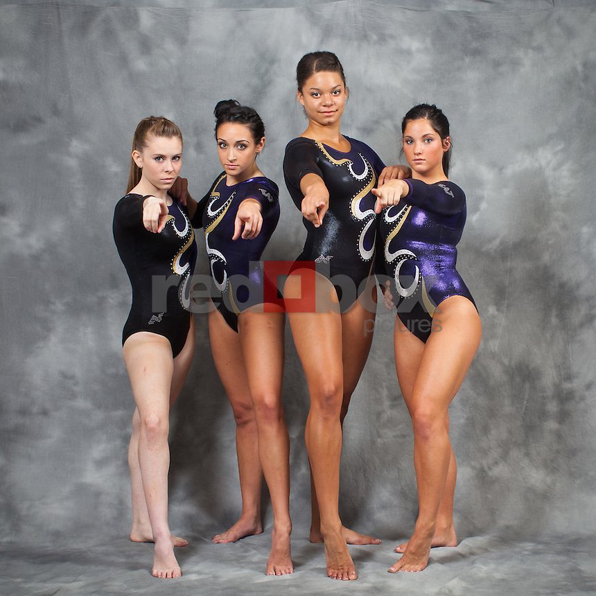 McKenzie Fechter, Doris Lynk, Jackie McCartin, Madison Podlucky..---------2011-2012 University of Washington Gymnastics team photographed on Thursday, September 22, 2011. (Photo by Dan DeLong/Red Box Pictures)