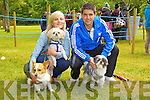Pictured at the Dog Show at Feile na Bl&aacute;th on Saturday are:<br /> Stacey Wallace, Shane Murphy, with their 3 dogs Ginger, Prince and Kia.