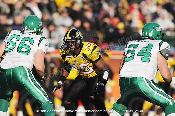 October 31, 2009; Hamilton, ON, CAN;  Hamilton Tiger-Cats linebacker Otis Floyd (35). CFL football: Saskatchewan Roughriders vs. Hamilton Tiger-Cats at Ivor Wynne Stadium. The Tiger-Cats defeated the Roughriders 24-6. Mandatory Credit: Ron Scheffler. Copyright (c) 2009 Ron Scheffler.