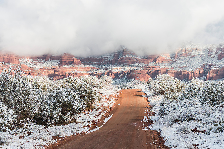 Backcountry road after snowfall, Sedona, AZ