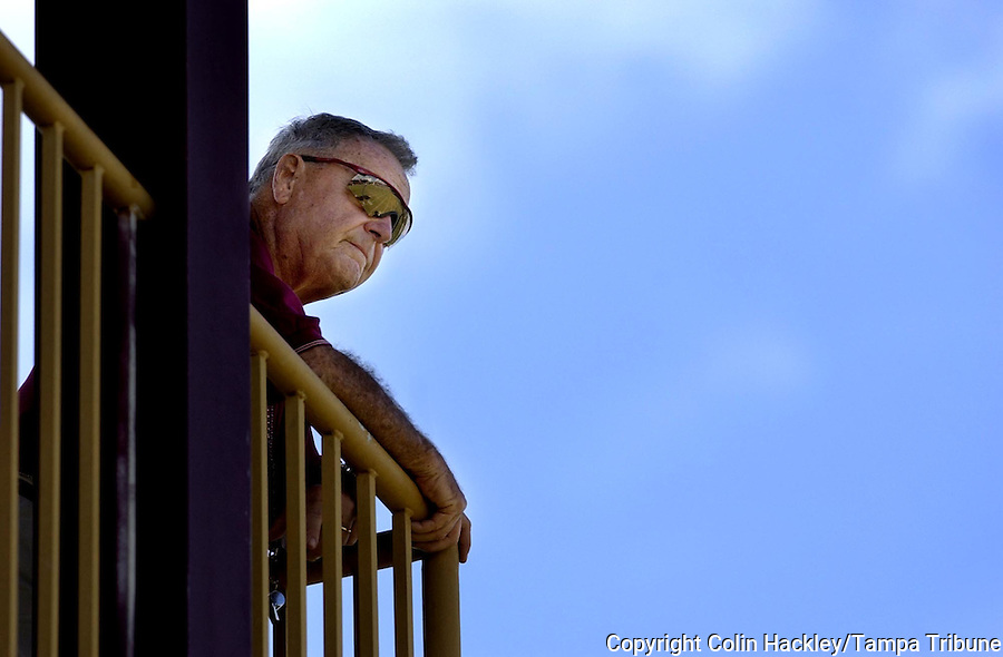 TALLAHASSEE, FL. 8/26/04-FSU Coach Bobby Bowden keeps an eye on practice from his tower, Thursday in Tallahassee. COLIN HACKLEY PHOTO