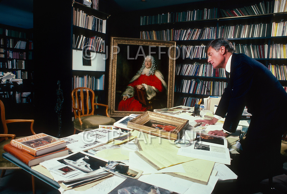 New York City, NY, USA, February 27, 1987 - Rich Feigen with some of his art collection at his office on East 79th Street.