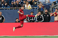 FOXBOROUGH, MA - AUGUST 31: Alejandro Pozuelo #10 of Toronto FC collects a pass during a game between Toronto FC and New England Revolution at Gillette Stadium on August 31, 2019 in Foxborough, Massachusetts.