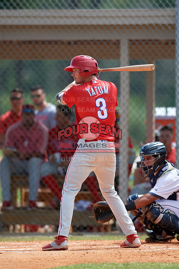 Philadelphia Phillies McCarthy Tatum (3) at bat during an Instructional League game against the Detroit Tigers on September 19, 2019 at Tigertown in Lakeland, Florida.  (Mike Janes/Four Seam Images)