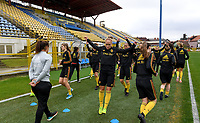 20191107 - Zapresic , BELGIUM : illustration picture shows the players with Janice Cayman during a Matchday -1 training session before a  female soccer game between the womensoccer teams of  Croatia and the Belgian Red Flames , the third women football game for Belgium in the qualification for the European Championship round in group H for England 2021, Thursday 7 th october 2019 at the NK Inter Zapresic stadium near Zagreb , Croatia .  PHOTO SPORTPIX.BE | DAVID CATRY