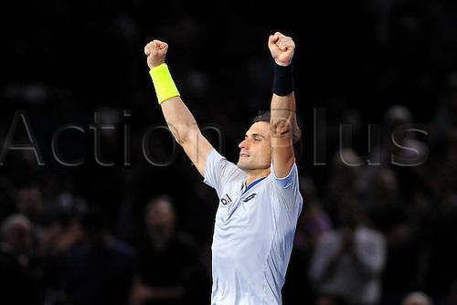 06.11.2015. Paris, France BNP Paribas Master Tennis, Bercy. Quarterfinls match between Ferrer and Isner.  David Ferrer (ESP) celebrates his win