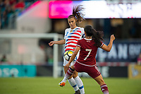 Jacksonville, FL - Thursday, April 05, 2018: Alex Morgan, Christina Ferral during a friendly match between USA and Mexico at EverBank Stadium.  USA defeated Mexico 4-1.