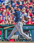 23 August 2015: Milwaukee Brewers first baseman Adam Lind in action against the Washington Nationals at Nationals Park in Washington, DC. The Nationals defeated the Brewers 9-5 in the third game of their 3-game weekend series. Mandatory Credit: Ed Wolfstein Photo *** RAW (NEF) Image File Available ***