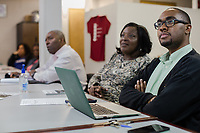 Da'Quan Love, who campaigned for and lost a NC District 4 race, at a REACH meeting that organizes the community against CAFOs in Warsaw, North Carolina Wednesday, November 14, 2018. (Justin Cook)