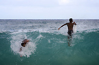 "one man body surf ( on left ) while the other boogie surfs at ""Sandy Beach Park""  where Senator Barack Obama used to come to body surf often when living in Hawaii. The image was taken in Honolulu, Hawaii, United States on Thursday July  31 2008...Senator Barack Obama, the presumptive 2008 Democratic presidential candidate was born in Hawaii and spending in he State most of his childhood and teen years. He  graduated from Hololulu's Punahou coeducational college preparatory day school in 1979."