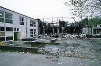 Remains of a school after a fire. The entire school and its contents were severly damaged...© SHOUT. THIS PICTURE MUST ONLY BE USED TO ILLUSTRATE THE EMERGENCY SERVICES IN A POSITIVE MANNER. CONTACT JOHN CALLAN. Exact date unknown.john@shoutpictures.com.www.shoutpictures.com..