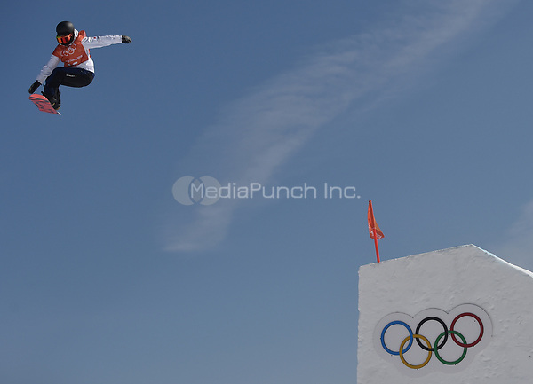 Yuka Fujimori from Japan jumping during the snowboard slopestyle training in the Olympic Phoenix Snow Park in Pyeongchang, South Korea, 07 February 2018. The Pyeongchang 2018 Winter Olympics take place between 09 and 25 February. Photo: Angelika Warmuth/dpa /MediaPunch ***FOR USA ONLY***