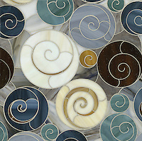 Escargo-go, a water jet jewel glass mosiac, shown in Tortoise Shell, Tiger's Eye, Lavastone, Pearl, Agate, Quartz, Jade, and Marcasite is part of the Ann Sacks Beau Monde collection sold exclusively at www.annsacks.com