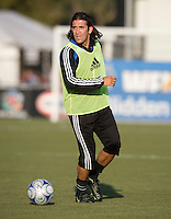 22 May 2008: Nick Garcia of the Earthquakes warms up before the game against the Dynamos at Buck Shaw Stadium in San Jose, California.   San Jose Earthquakes defeated Houston Dynamo, 2-1.