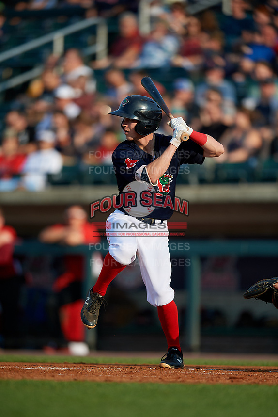 Lowell Spinners second baseman Grant Williams (11) at bat during a game against the Vermont Lake Monsters on August 25, 2018 at Edward A. LeLacheur Park in Lowell, Massachusetts.  Vermont defeated Lowell 4-3.  (Mike Janes/Four Seam Images)