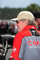 Mar. 9, 2012; Gainesville, FL, USA; NHRA crew chief Richard Hogan for top fuel dragster driver Steve Torrence during qualifying for the Gatornationals at Auto Plus Raceway at Gainesville. Mandatory Credit: Mark J. Rebilas-