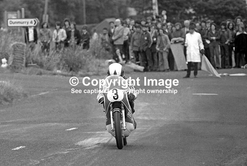 John Williams, British, rider, racing motorcyclist competing in 1973 Ulster Grand Prix. He won the 250,350, and 500 cc races. He was a five-time winner of the North West 200 race in Northern Ireland and a four-time winner at the Isle of Man TT.[2] Williams died from injuries suffered while competing in the 1978 Ulster Grand Prix in Northern Ireland. 197308180571JW1<br />