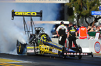 Feb. 9, 2012; Pomona, CA, USA; NHRA top fuel dragster driver Morgan Lucas during qualifying at the Winternationals at Auto Club Raceway at Pomona. Mandatory Credit: Mark J. Rebilas-