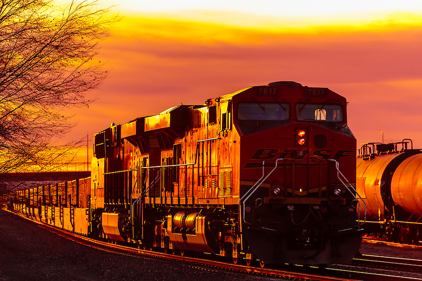 A freight train carrying contrainers, near Gallup, New Mexico USA.