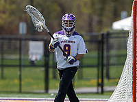 JD Colarusso (#9) prepares to pass after a save as UAlbany Lacrosse defeats Vermont 14-4  in the American East Conference Championship game at Casey Stadium, May 5.